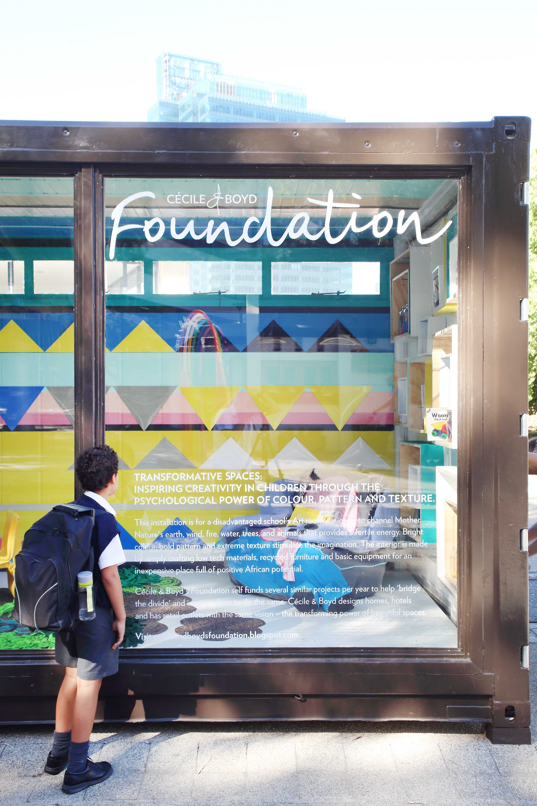 The Cécile & Boyd Foundation is involved in creating inspiring spaces for disadvantaged children in either refurbished containers or classrooms; this is our project for World Design Capital: The Power of Colour & Texture.