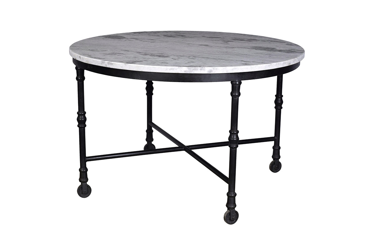 Home FURNITURE DINING TABLES Dining Table Round With Marble Top